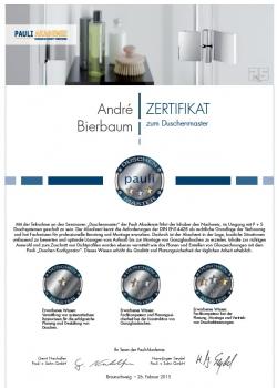Glaserei Nolting Pauli Duschenmeister Zertifikat